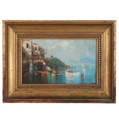 Neapolitan Coastal Landscape Oil Painting, Mid 20th Century