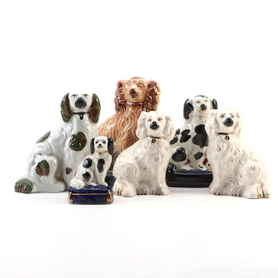 Pair of Beswick Staffordshire Spaniels with Other Staffordshire Dogs