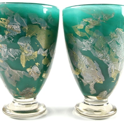 Gozo Maltese Gold Leaf Art Glass Vases