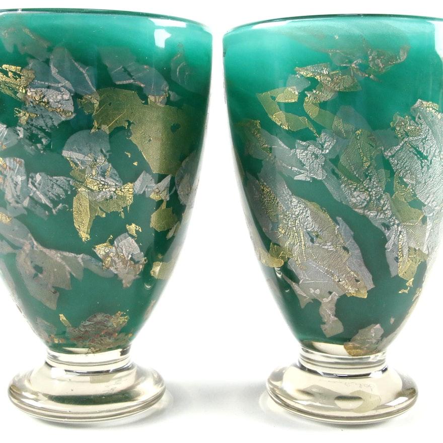 Gozo Maltese Gold Leaf Art Glass Vases