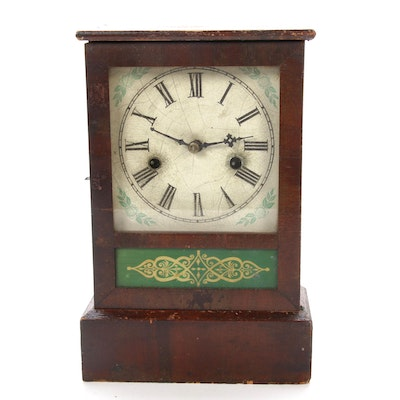 Ansonia Eight Day Mantel Clock with Verre Églomisé Panel