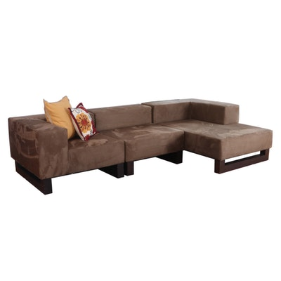West Elm Microfiber Three-Piece Modular Sofa with Chaise Lounge