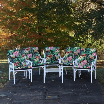 Chinoiserie Style Metal Outdoor Dining Chairs with Tropical Patterned Cushions