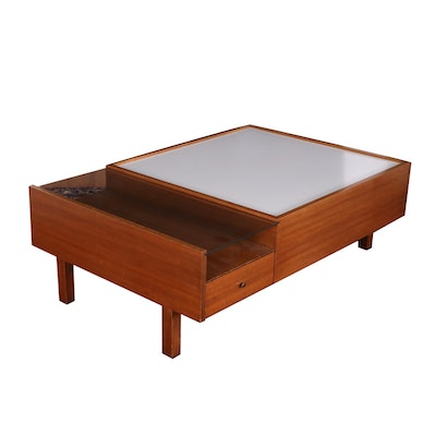 Brown-Saltman Mid Century Modern Walnut Veneer, Laminate and Glass Coffee Table