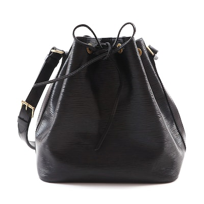 "Louis Vuitton Epi Petit ""Noe"" Black Cinch Shoulder Bag"
