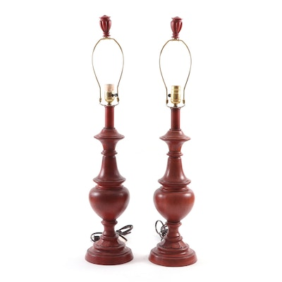 Pair of Red Resin Baluster Table Lamps, Contemporary