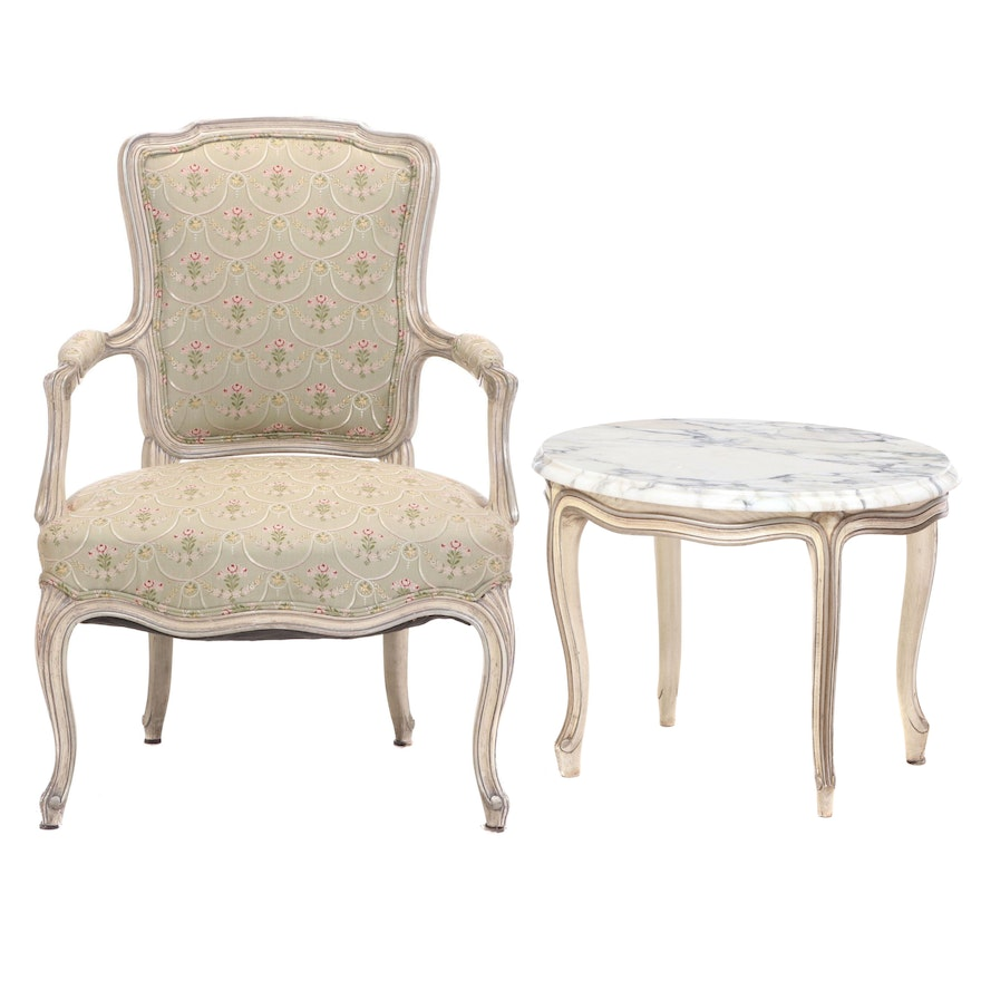 Louis XV Style Cream-Painted and Silver Gilt Fauteuil and Marble Top Side Table