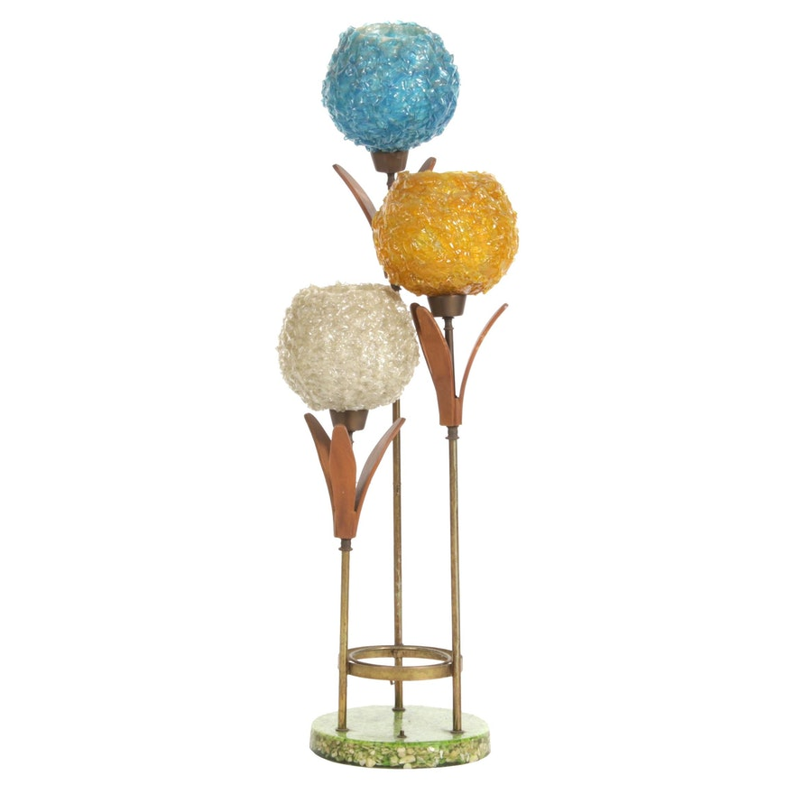 Mid Century Modern Table Lamp with Spagetti Lucite Globes