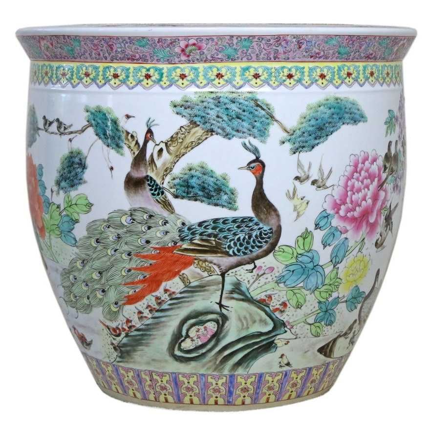 Chinese Hand Painted Porcelain Fishbowl Planter, Mid to Late 20th Century