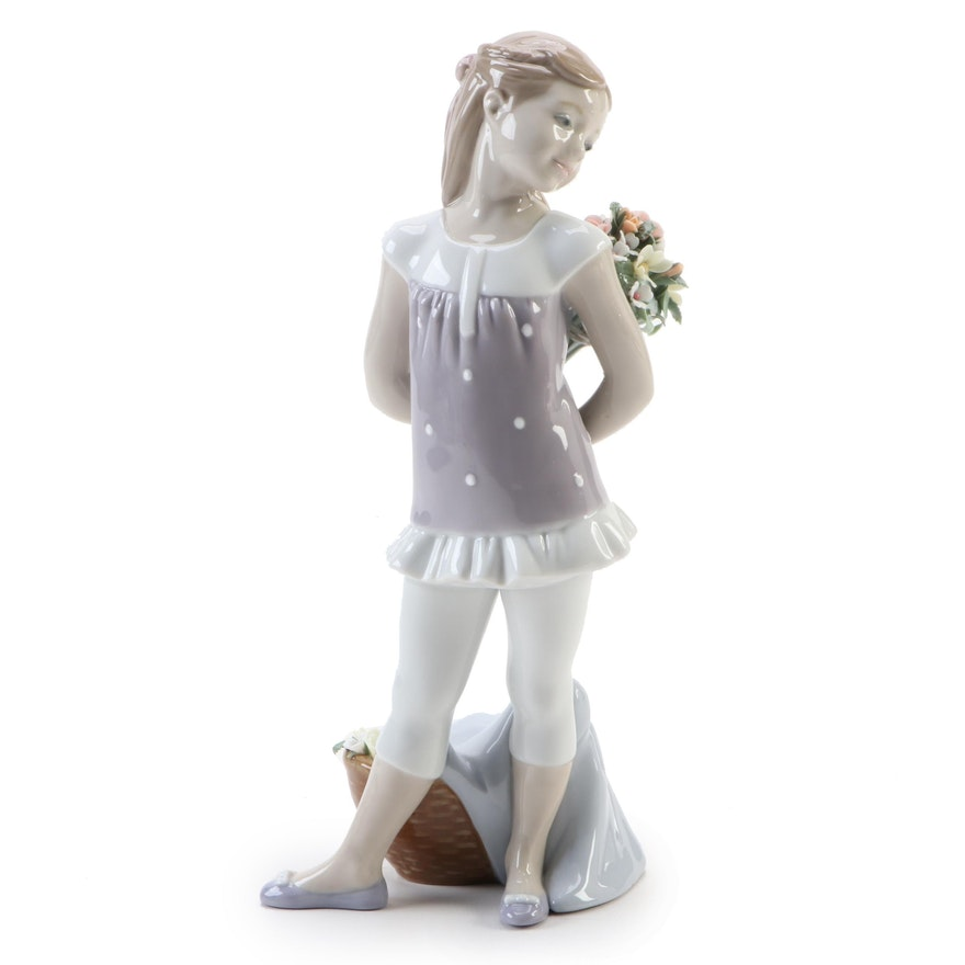 "Lladró ""Your Favorite Flowers"" Porcelain Figurine Designed by Javier Molina"