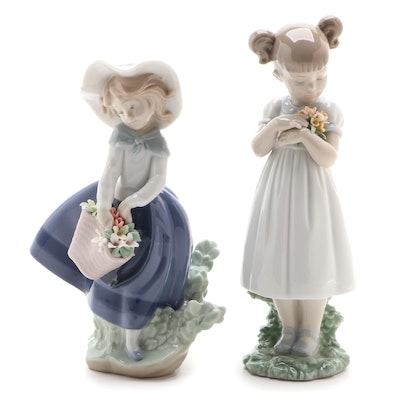 "Lladró ""Flowers for Mommy"" and ""Pretty Pickings"" Porcelain Figurines"