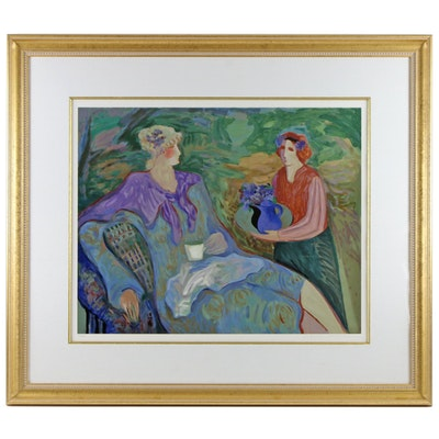 "Barbara A. Wood Serigraph ""Tea and Violets"""