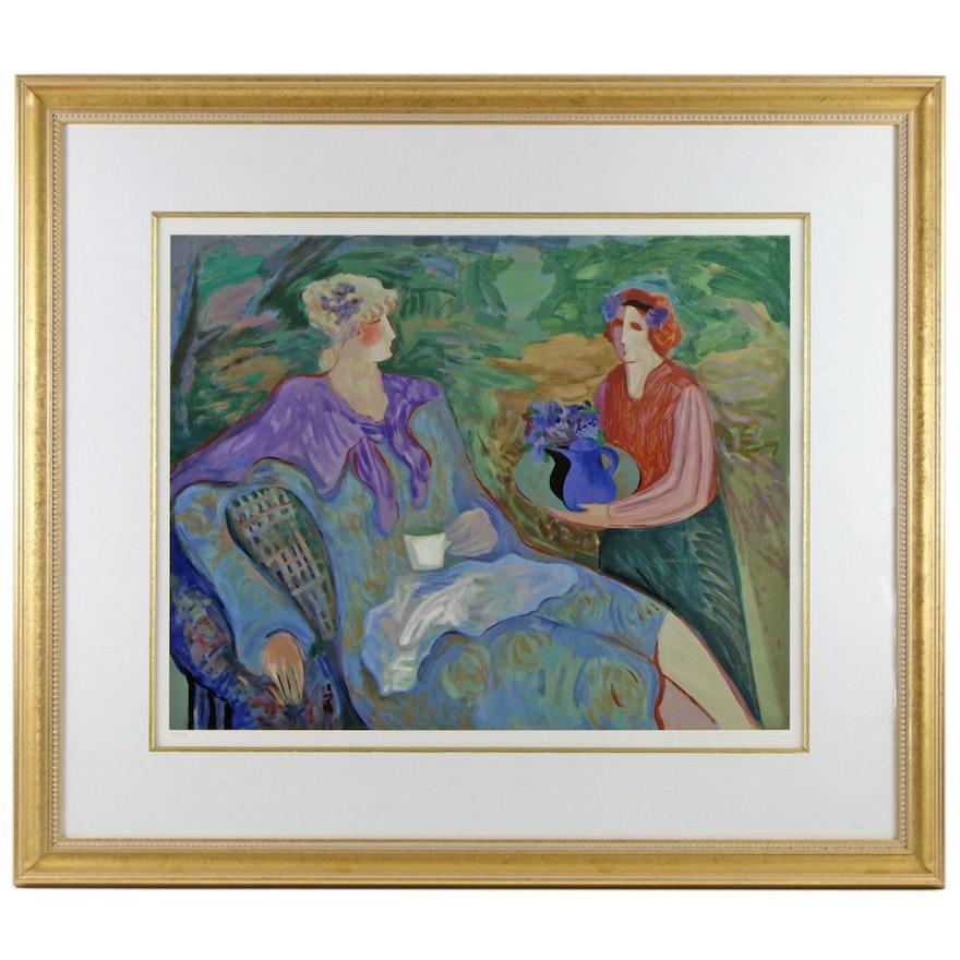 "Barbara A. Wood Serigraph ""Tea and Violets"""