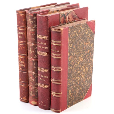 """Leather Bound """"The Combatants: An Allegory"""" with More Volumes, circa 1800s"""