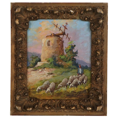 Landscape Oil Painting of Shepherd and Flock, Mid to Late 20th Century