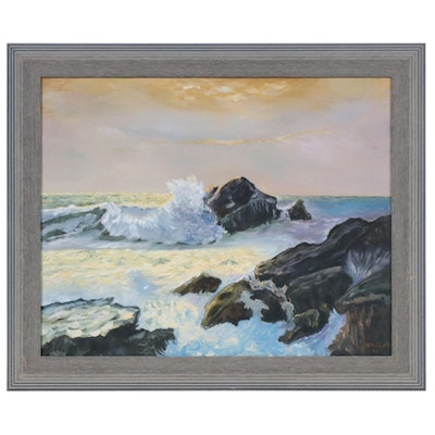 Impressionist Style Oil Painting of Coastal Seascape, 1991