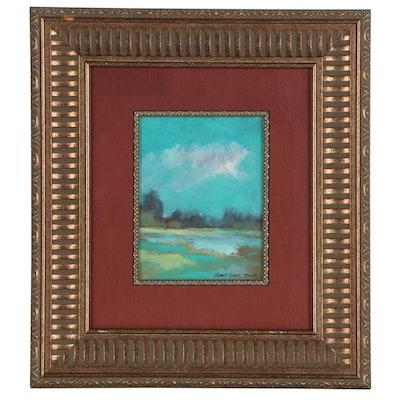 "Robert Riddle-Baker Acrylic Landscape Painting ""Lakeside"", 21st Century"