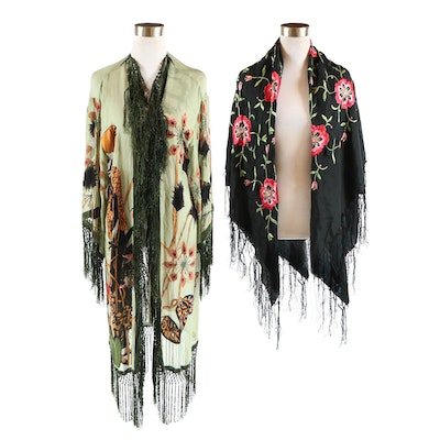 Aris A. Silk and Rayon Fringed Kimono Shawl with Embroidered Black Fringed Shawl