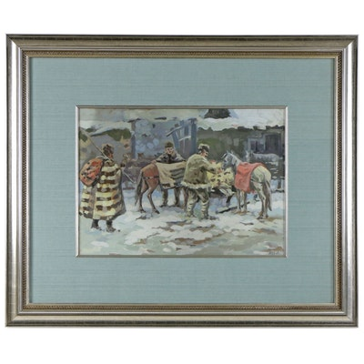 Acrylic Painting of Winter Scene with Men and Horses