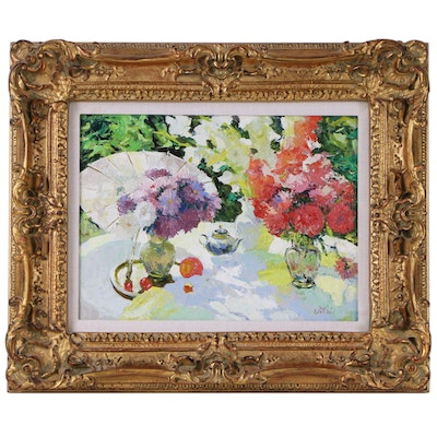 Impressionist Style Floral Still Life Oil Painting