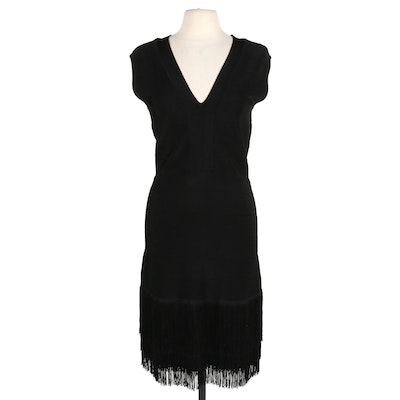 Venus V-Neck Black Knit Bodycon Dress with Fringed Hemline