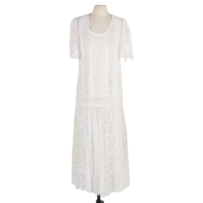 Jessica McClintock Edwardian-Style Lace Maxi Dress with Separate Chemise