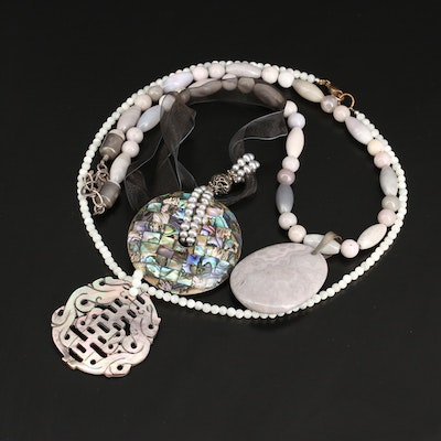 Necklaces Featuring Sterling, Abalone, Pearl, Jasper and Mother of Pearl