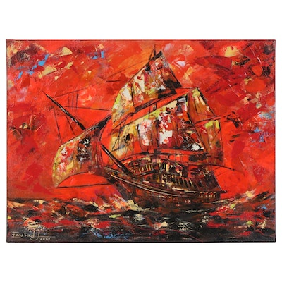 Farshad Lanjani Nautical Scene Acrylic Painting, 2020