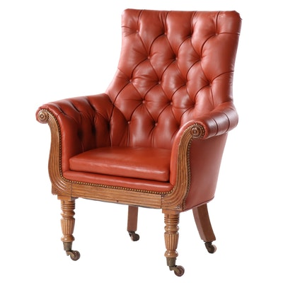 Victorian Style Button-Tufted Leather Arm Chair on Castors
