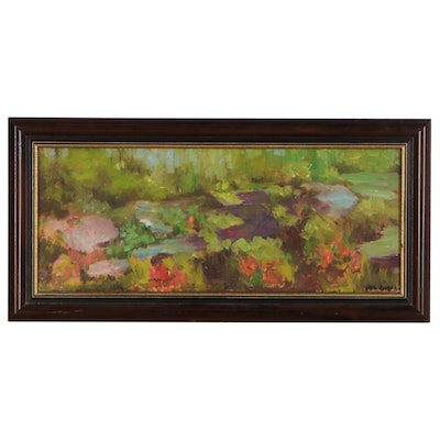 "Ida Gordon Oil Painting ""Lily Pond -  Brown County, Indiana"""