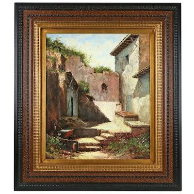 Jesus Bacci Oil Painting of Street Scene, Late 20th Century
