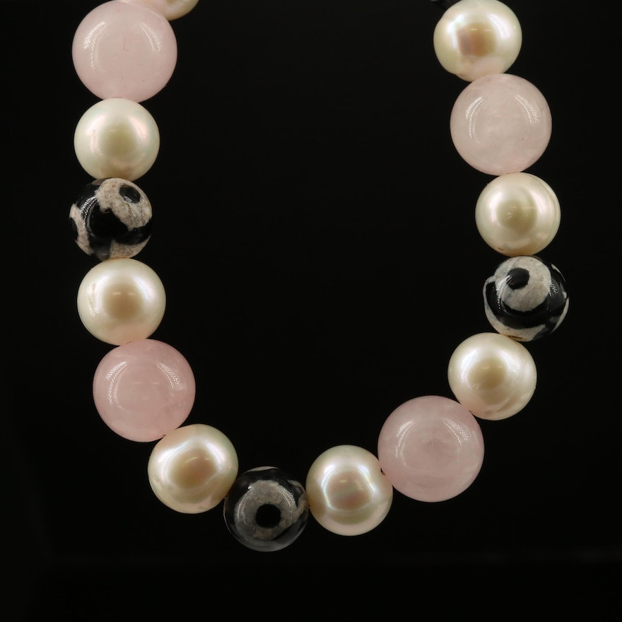 dZi Agate, Peal and Rose Quartz Beaded Necklace with Sterling Clasp