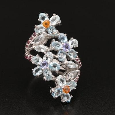 Sterling Flower Ring with Aquamarine, Tanzanite, Garnet and Sapphire
