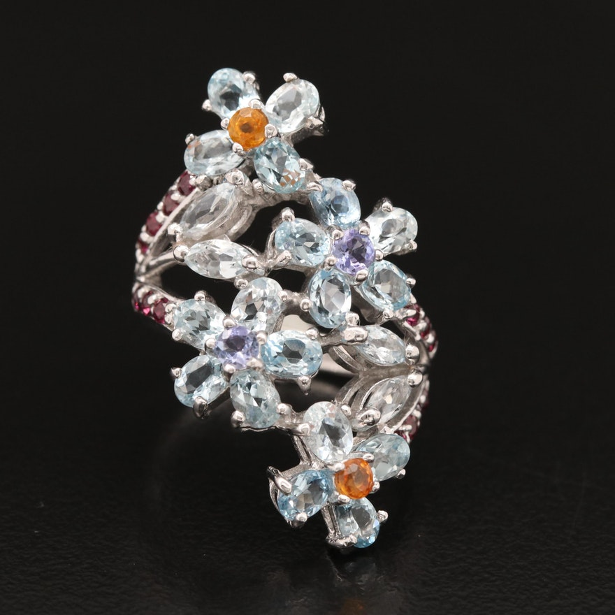 Sterling Flower Ring with Aquamarine, Tanzanite, Garnet and Sapphire