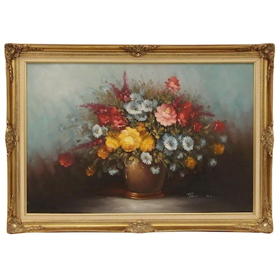 Robert Cox Floral Still Life Oil Painting, Late 20th Century