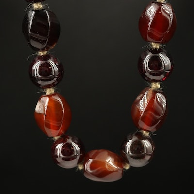 Hand Knotted Agate and Garnet Necklace with Sterling Clasp