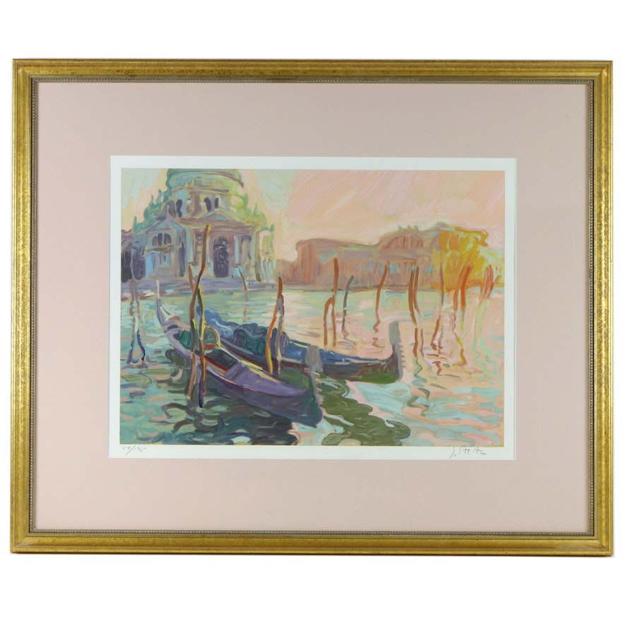 Canal Scene Serigraph with Boats, Late 20th Century
