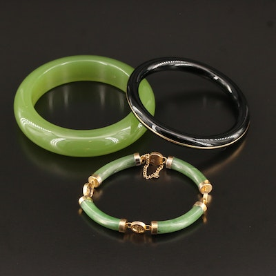 Bangles and Bracelet Featuring Nephrite, Black Onyx, 14K and Chinese Characters