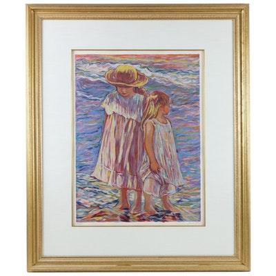 Irene Borg Serigraph of Children, Late 20th Century