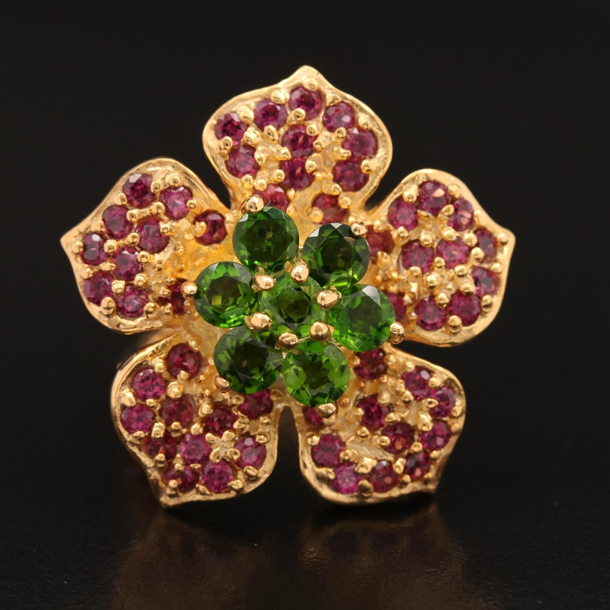 Sterling Diopside and Garnet Flower Ring