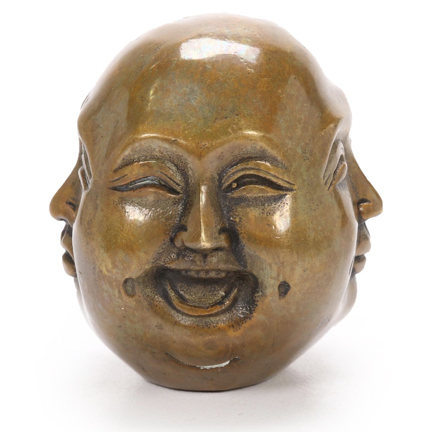 Chinese Brass Four-Faced Buddha, 20th Century