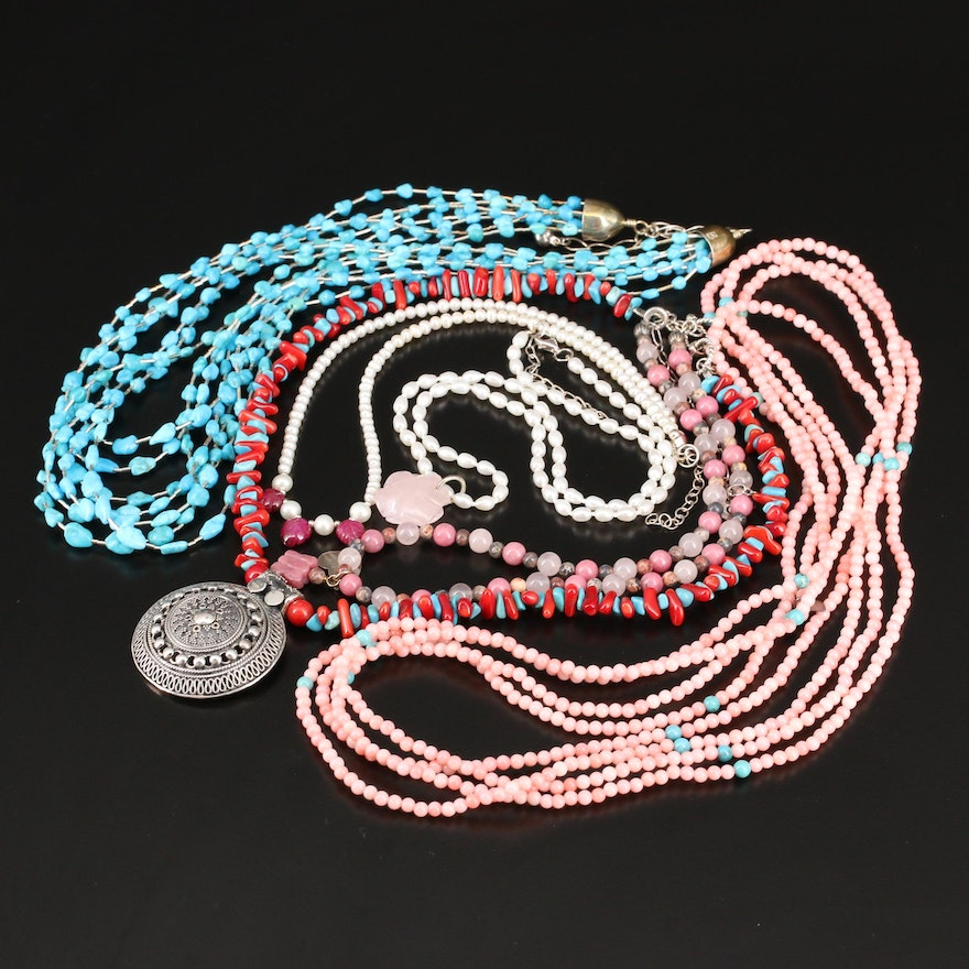 Sterling and Gemstone Bead Necklaces Featuring Desert Rose Trading and Relios