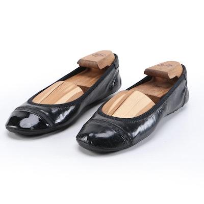 Prada Sport Glazed Black Leather Ballet Flats