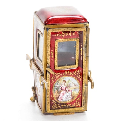 Scully & Scully Hand-Painted Enamel Sedan Chair Trinket Box