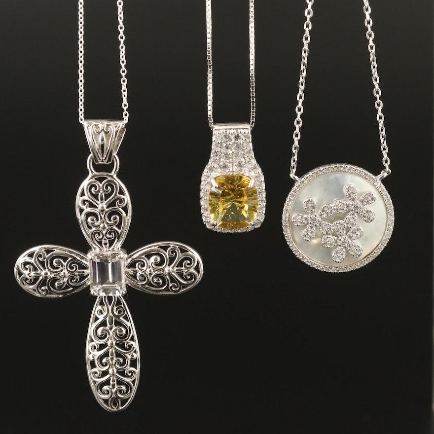 Sterling Necklaces Including Apatite, Cross and Flower Pendants
