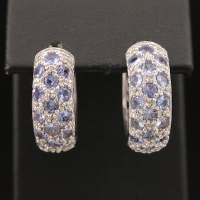Sterling Silver Tanzanite Huggie Earrings