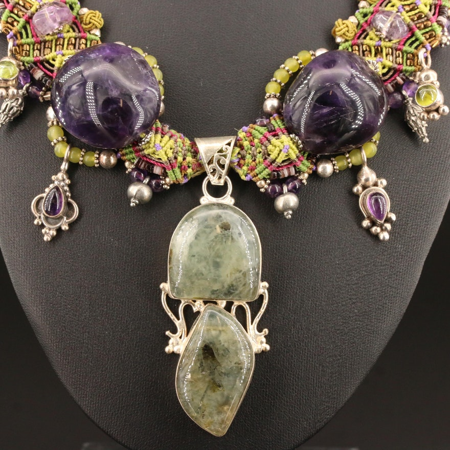 Marléy Prehnite, Amethyst and Glass Necklace with Sterling Silver Accents