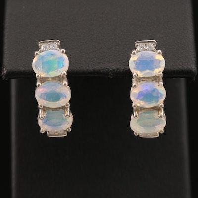 Sterling Opal and Cubic Zirconia Drop Earrings