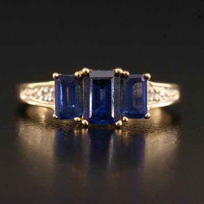 10K Sapphire Ring with Diamond Accents