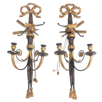 Italian Neoclassical Gilt Carved Wood and Gesso Candle Sconces
